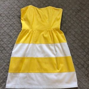 Yellow and white cocktail dress